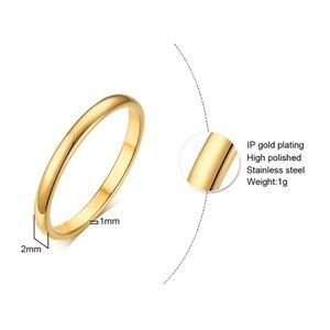 titanium steel band ring Jewelry - Titanium Steel 2mm Thin Simple Band Gold Ring